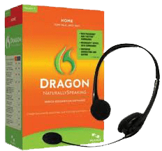 Dragon Naturally Speaking product box and headphones.